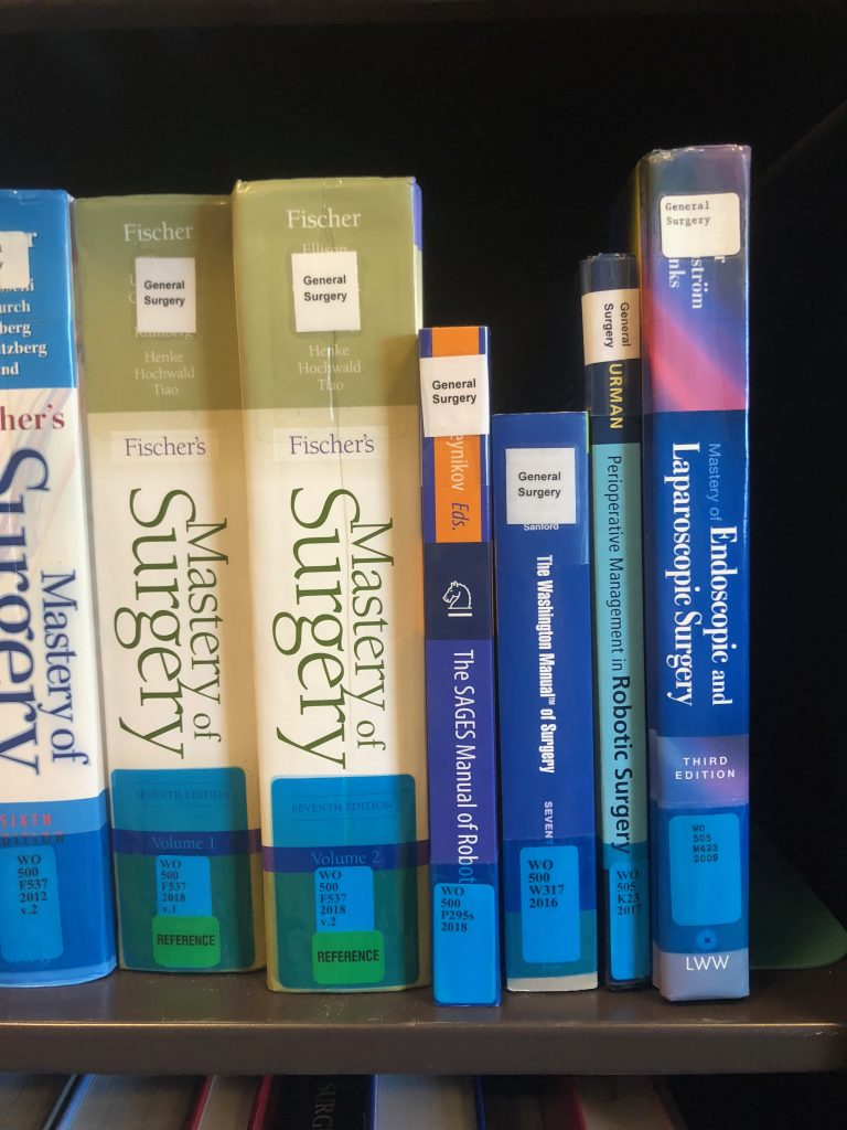 Surgery titles with blue labels