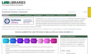 UAB Systematic Reviews LibGuide Screenshot