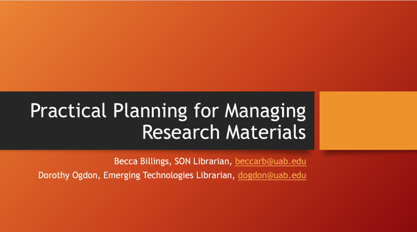 Practical Planning for Managing Research Materials slide